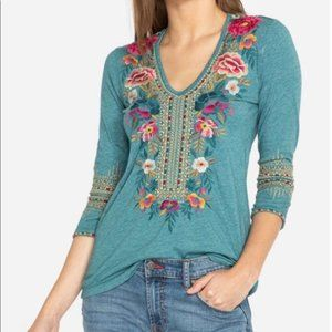 Johnny Was   Katina Embroidered Floral Top Size S
